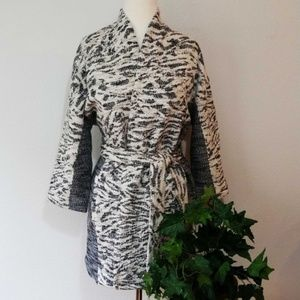 H&M Marled Jacquard Textured Belted Wrap Coat; M